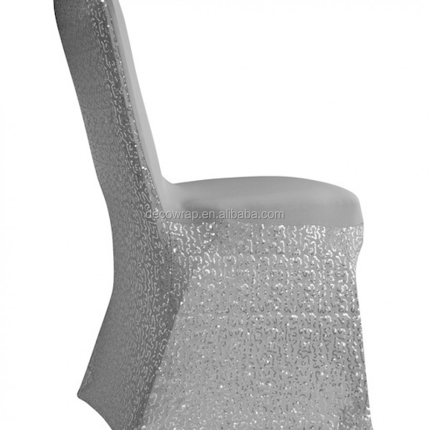 Silver spangle sequin spandex chair cover for wedding