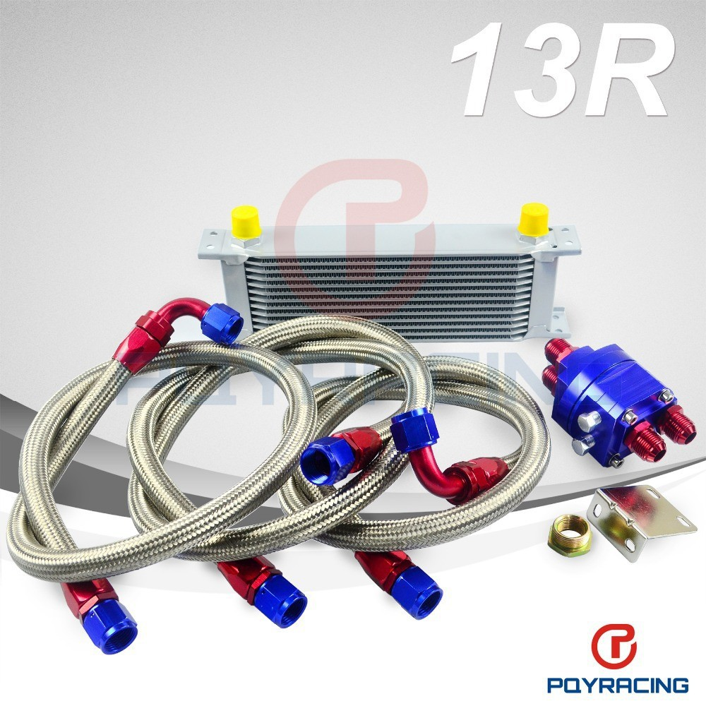 PQY STORE-UNIVERSAL 13 ROW AN10 ENGINE TRANSMISS OIL COOLER KIT +FILTER RELOCATION BLUE