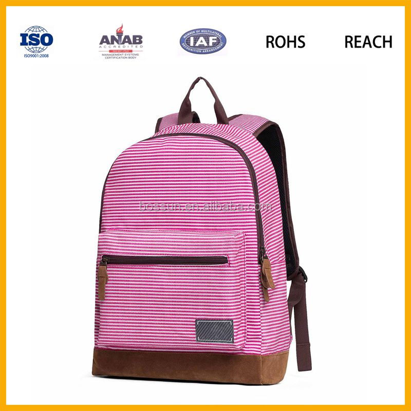 Latest Trend Elegant Style Nylon Pink Stripe Girls Schoolbag Backpack Leisure Bag for Young Girls