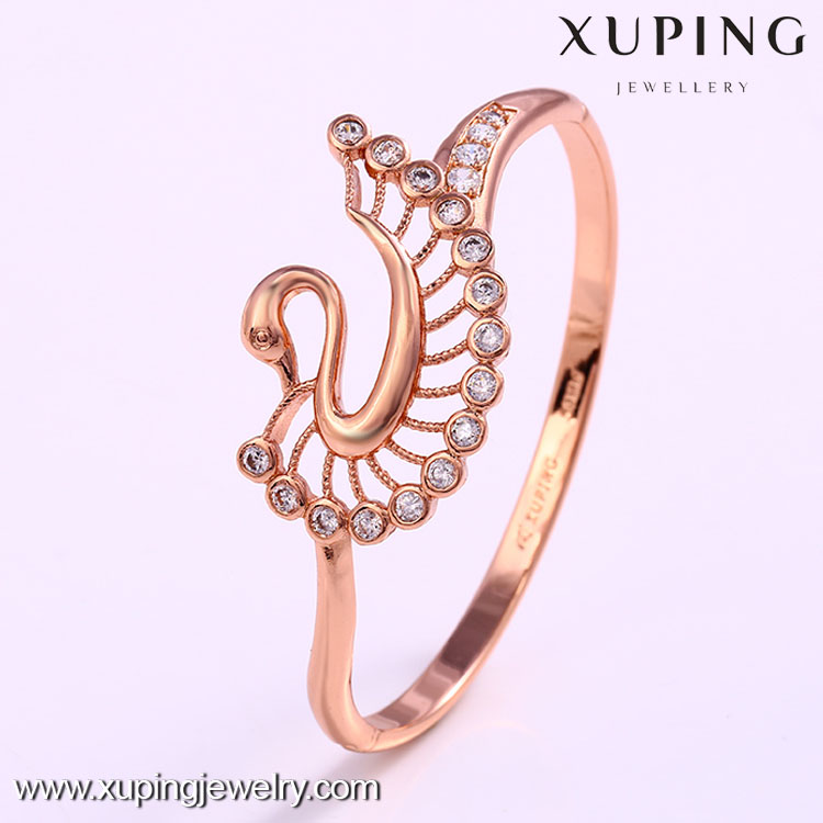 50838 costume rose gold jewelry, gold elegant swans bangles latest designs
