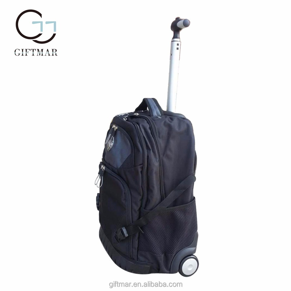 "19"" 21"" black business trolley travel laptop backpack with wheels, wholesale polyester trolly bag roller backpack"
