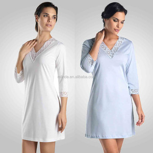 Women Ladies Super Soft Cotton Plain Dyed Pajamas Sleepwear Wholesale Custom Pullover Pyjamas with Lade Details High Quality