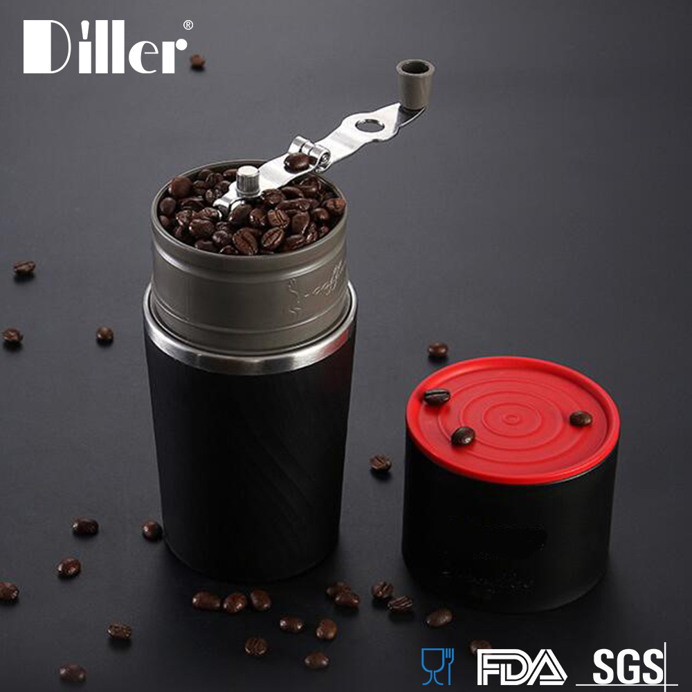 Diller OEM Hot Sale Plastic All In One Small Mini Espresso Portable Hand Manual Burr Coffee Bean Grinder
