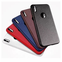 Lichee Pattern leather shockproof TPU protective back case for iPhone 8