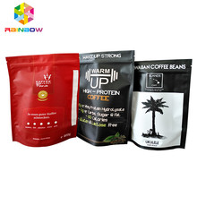 Stand up pouch matte black foil line coffee beans 250g airtight packaging ziplock bags