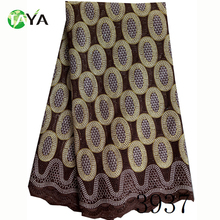 High quality 3937 coffee made in china african lace fabric swiss voile lace fabric