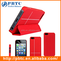 Set Screen Protector And Case For Iphone 5 , Red Hexagon Pattern PU Smart Cover