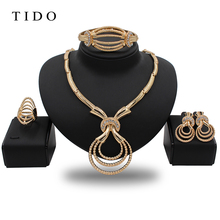 TIDO Wedding Gift Jewelry Set Costume Party African Necklace 18k Gold Plated Jewelry Set