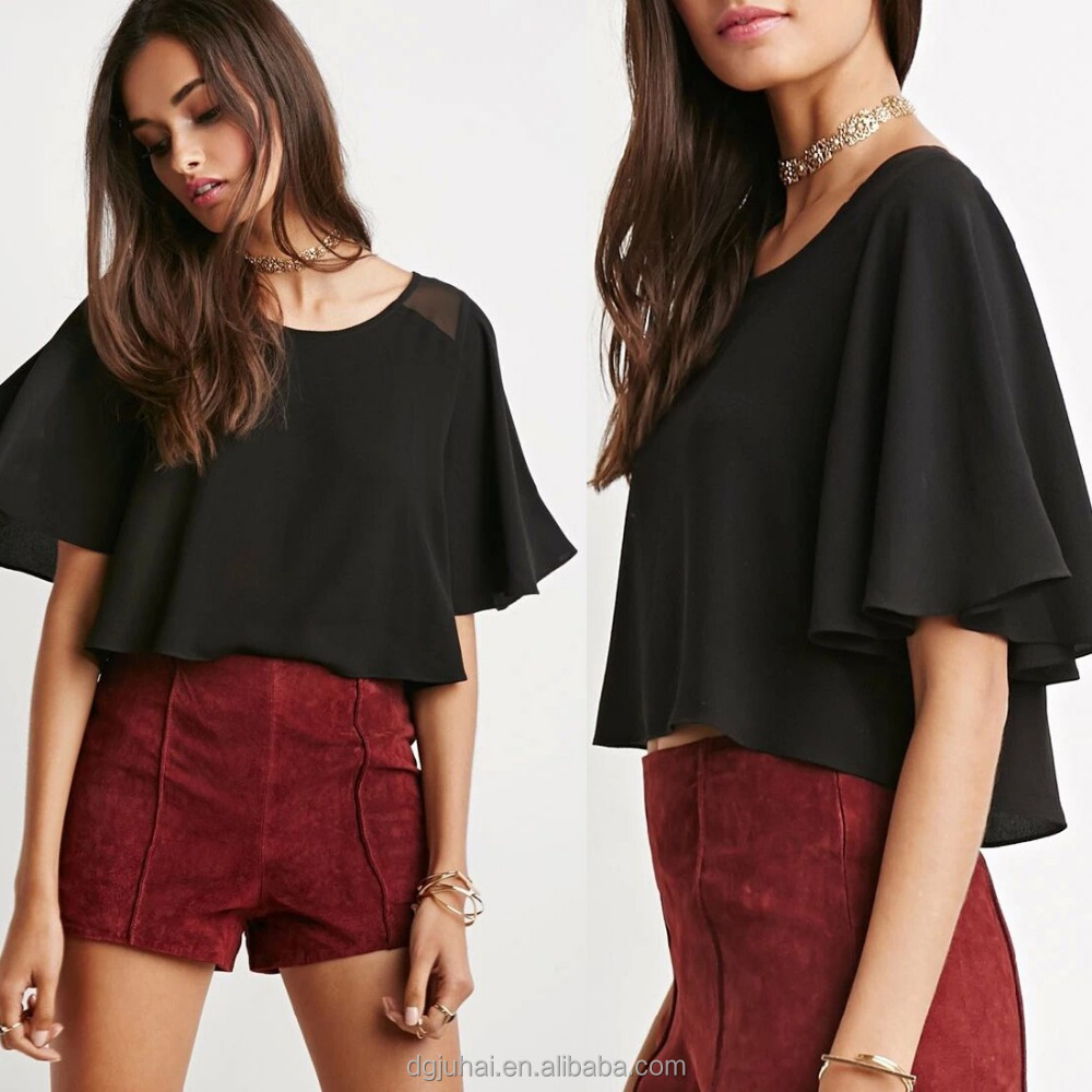 {OEM} Stylish Chiffon-Flannel Round Neck Flutter Short Sleeves Women Boxy Top Women Blouse 9122