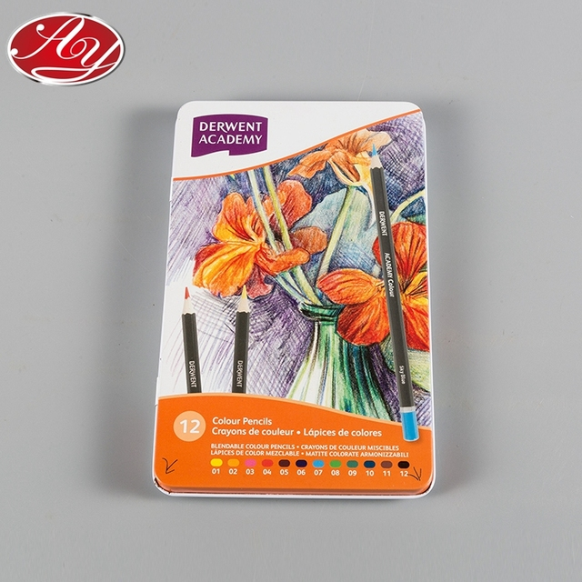 Wholesale Embossed Two Piece Thin Can Colour Pencils Metal Box