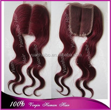 Super 7a grade quality 99j# brazilian virgin hair body wave human hair lace closure middle parting
