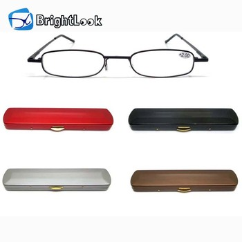 Brightlook cheap beautiful design amber black adjustable men mini pocket folding reading glasses with metal case