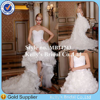 Short Front Long Back Ruched Organza Sweetheart Neckline Expensive Wedding Dress