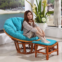 Most Comfortable Indoor Living Room Giant Oversized Large Adult Rattan Cane Wood Wicker Modern Swing Recliner Leisure Moon Chair