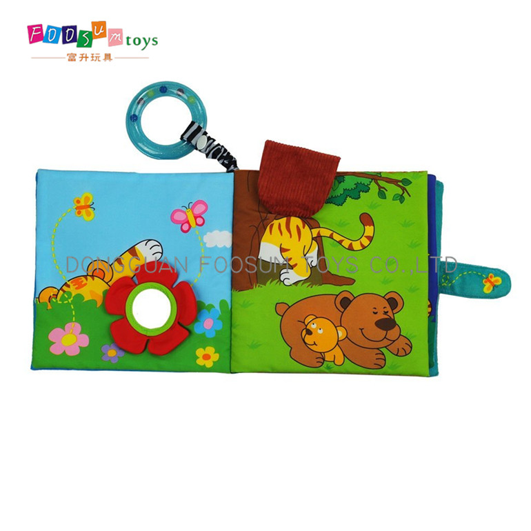 soft baby fabric cloth wild animal photo books for kids education
