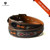 Embroidery Antique Genuine Leather Western Cowboy Belt for Men