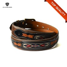 Genuine Leather Belts for Men/Western Style Leather Embroidery Cowboy Belt