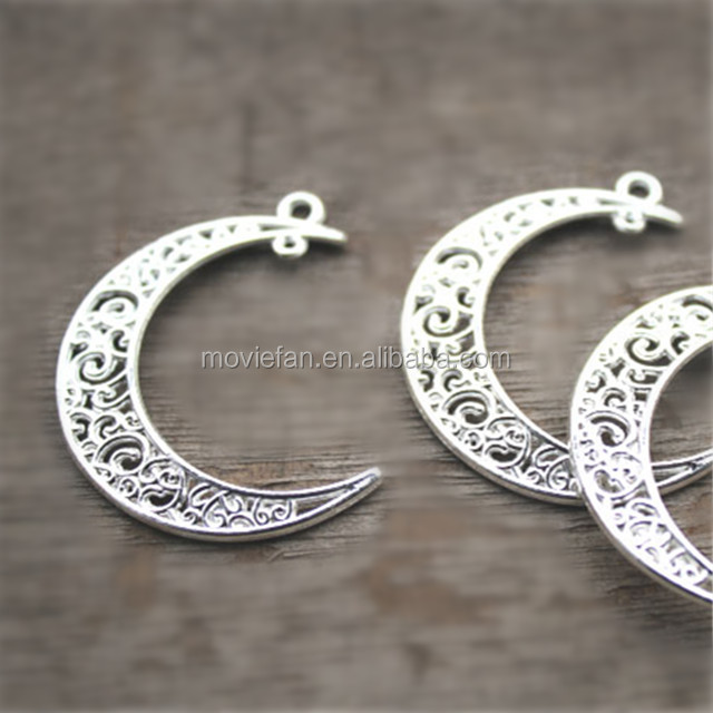 Silver Plated Hollow Crescent Moon Charms Pendant Jewelry Supplies Connector Link Drops 39*9mm