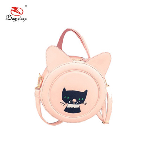 Custom design available cat ear shape hand bag lady cosmetic bag round