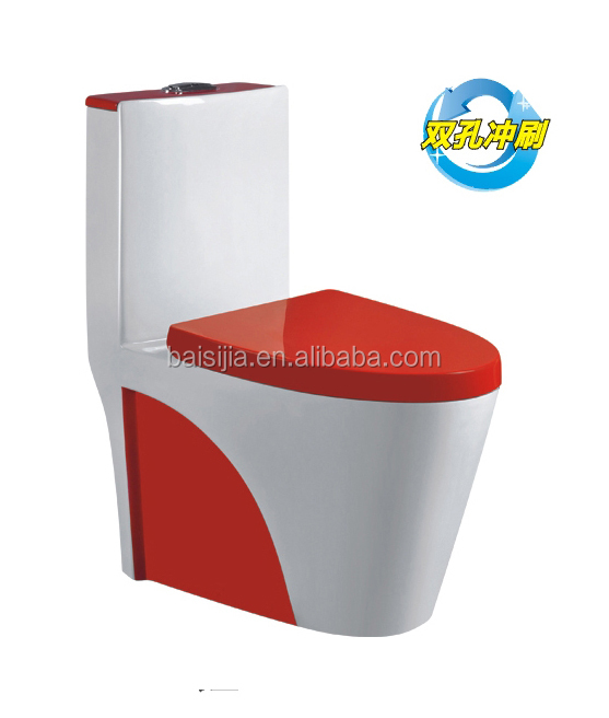 Sanitary ware red colored bathroom one piece toilet/portable toilet F1002 Red