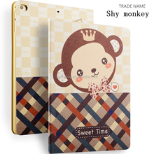 Color Printing Folio Stand PU Leather Case for iPad, Smart Flip Cover Case for iPad2 3 4 (Shy Monkey)