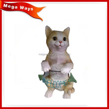 Hand with fish Resin standing yellow color little cat figurines
