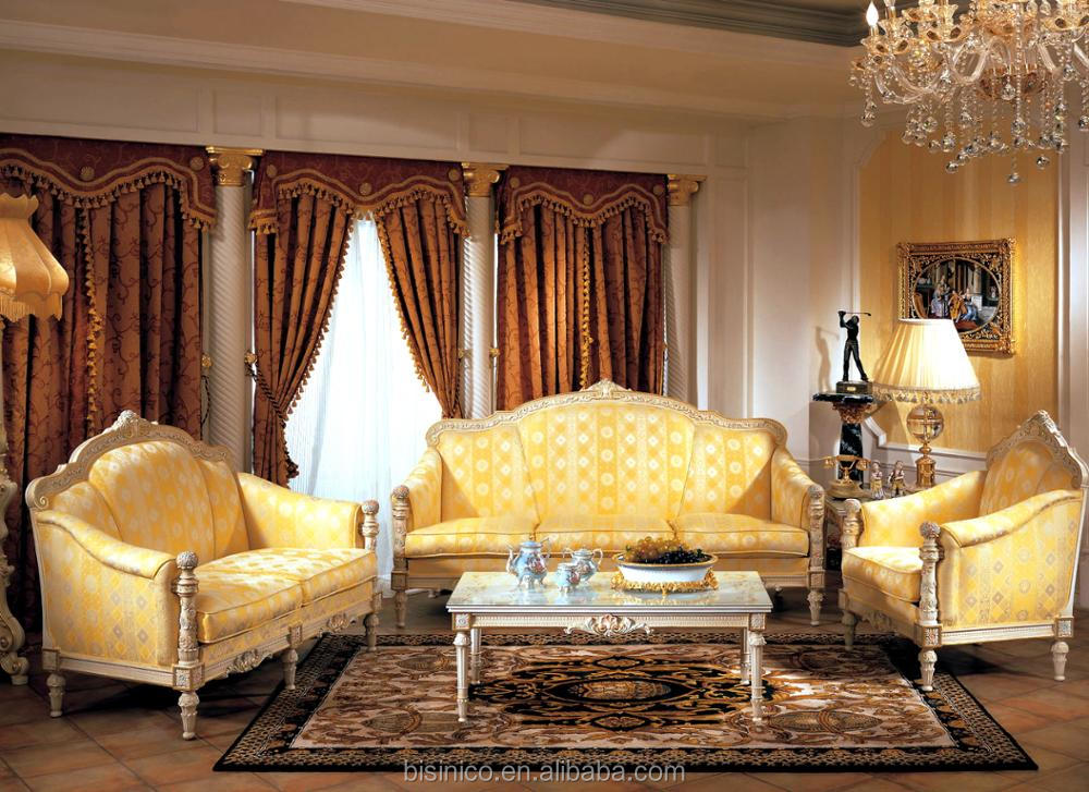 Antique European Style Ivory and Gold Button Tufted Fabric Sofa 6 Seaters And Table Set For Reception Room