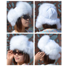 Ladies' Casual Winter Waterproof Genuine Fur Cap / Women White Winter Fox Fur Hat