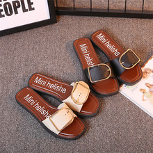 Flat metal buckles sandals slippers home sandals