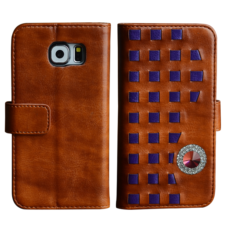 Crystal Book Style Leather Phone Case for Samsung S6