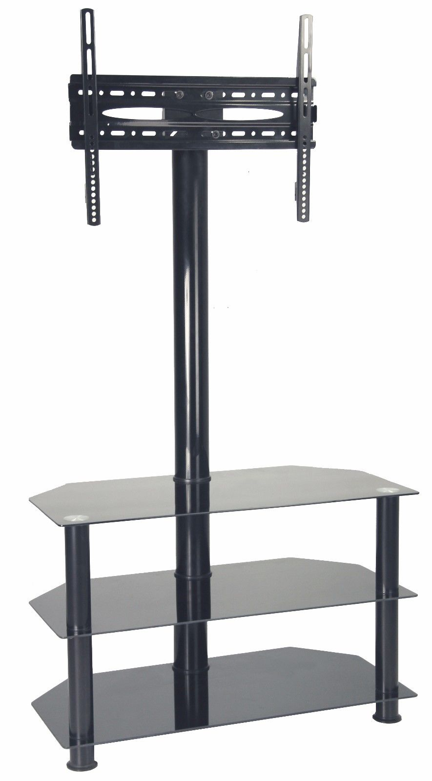 Black Cantilever Black Tempered Glass TV Stand Vesa upto 600x400mm