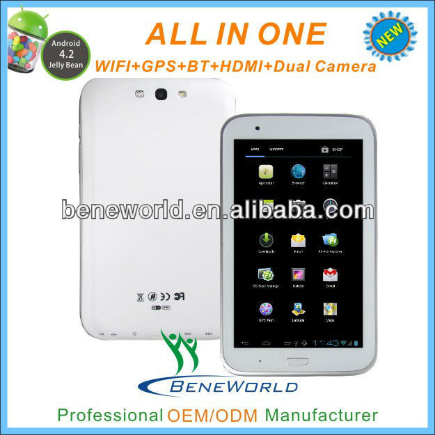 Fanshion 7inch samsung cpu tablet pc with IPS 1280*800p high resolution bluetooth gps