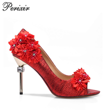 Party occasion red flower attractive styles pu leather sexy feet shoes very high heels
