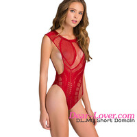 2016 hot Red Open Arm Crotchless mature women sexy lingerie pics