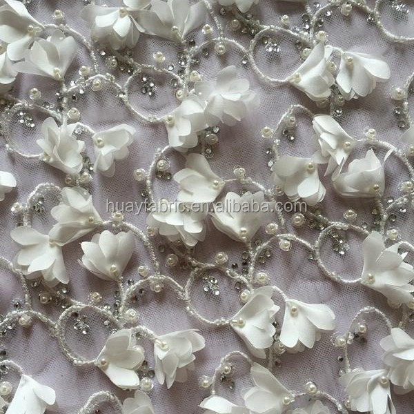 2016 hot sale white embroidery design beaded pearl hand tulle white beaded lace fabric wholesale for party dress FB0042