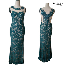 Special occation Green lace long dress oem by Tenmail fashion new 2018 Spring and summer design V-1147