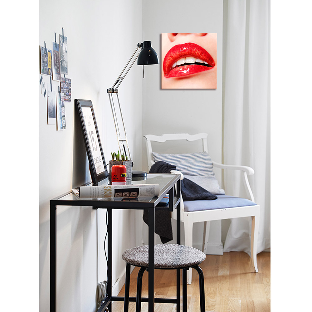"Sexy Red Lips Picture Canvas Prints Fashion Room Decoration(20""x20"") Elegant Lady Photo Print on Canvas Ready to Hang"