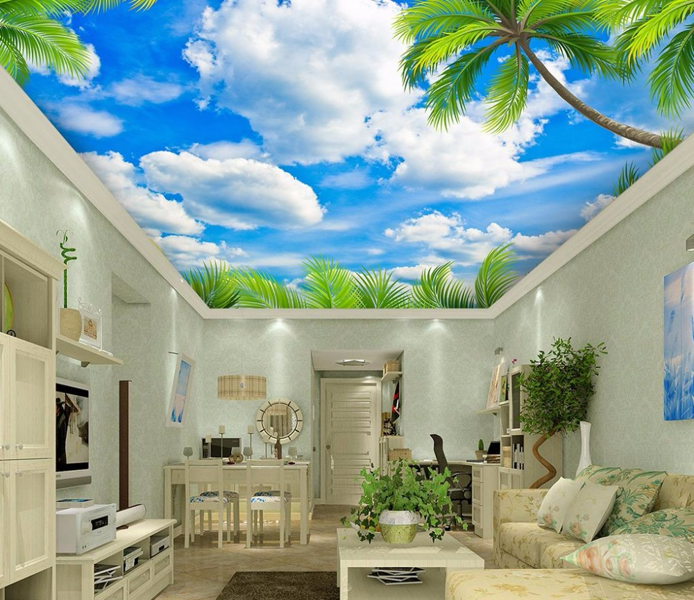 3d Ceiling Murals Wallpaper Green Leaves Blue Sky With White