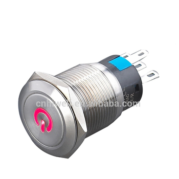 Promotional anti-vandal push button LED power sign stainless steel switch 19mm