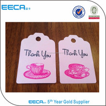 Custom design printing paper price tag/clothing hang tag with handle wholesale