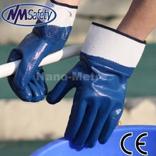 NMSAFETY Blue oil industrial glove heavy duty nitrile gloves oil resistant nitrile gloves