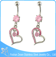 Newest promotional pink zircon hanging crystal heart durable navel rings supplies