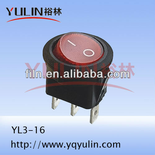 240v round kcd1-101 lamp rocker switch dpst waterproof cover with led 10a 250vac FL3-016