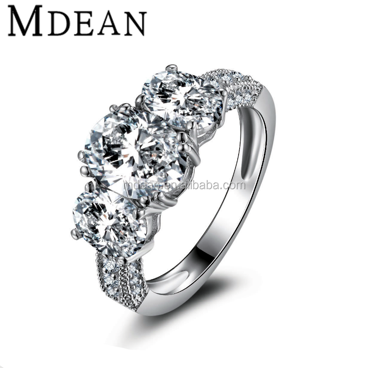 MDEAN White Gold Plated Simulate Diamond Jewelry Engagement Crystal <strong>rings</strong> for women wedding bague bijoux accessories MSR204