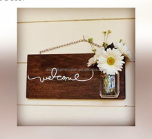 Rustic Farmhouse Welcome Sign with Mason Jar, Wall Sign, Home Decor.