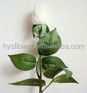ON SALE Artificial White Rose bud Floral silk latex rose fake rose bud