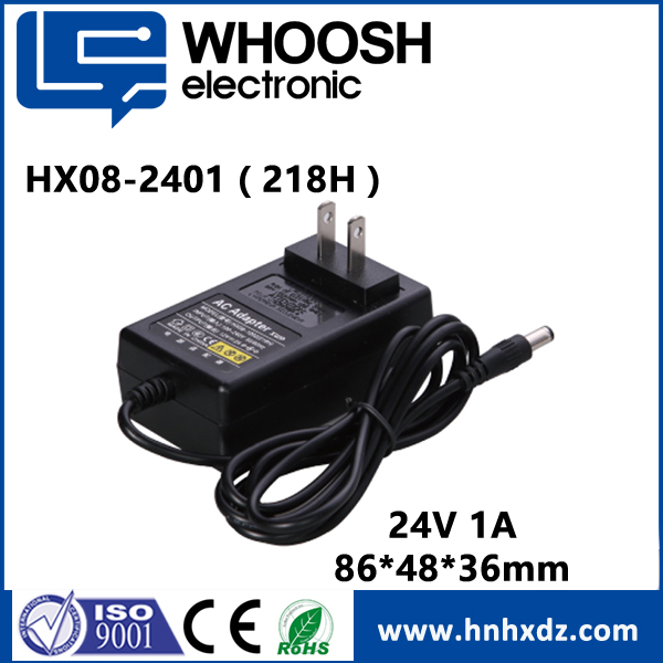 UL listed honor 24V 1a electronic switching adapter