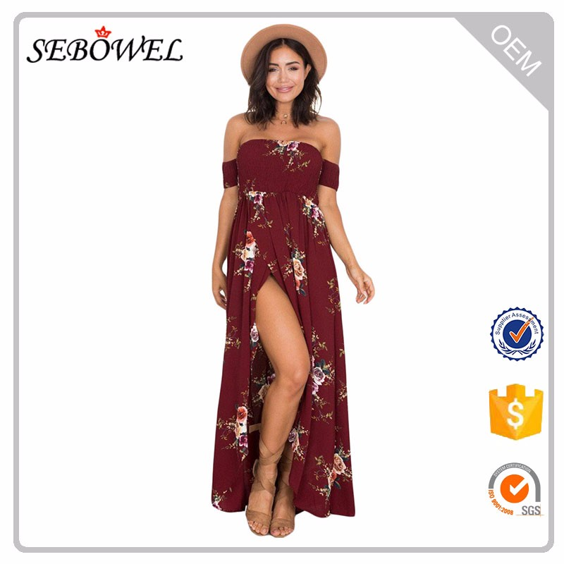 Smoked Off Shoulder Woman Print Floral Maxi Dress Women