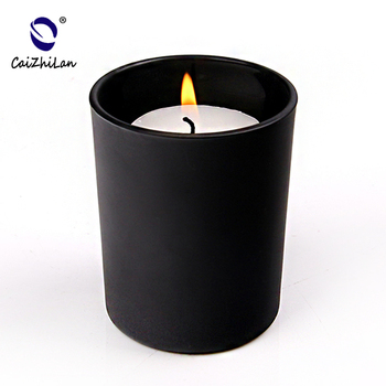 Matte Glass candle holder,Candle Holder, Black color Glass candle holder