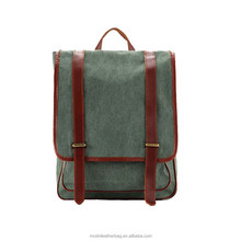 Waxed Canvas Backpack with Leather Trim School Backpack Rucksack 1831